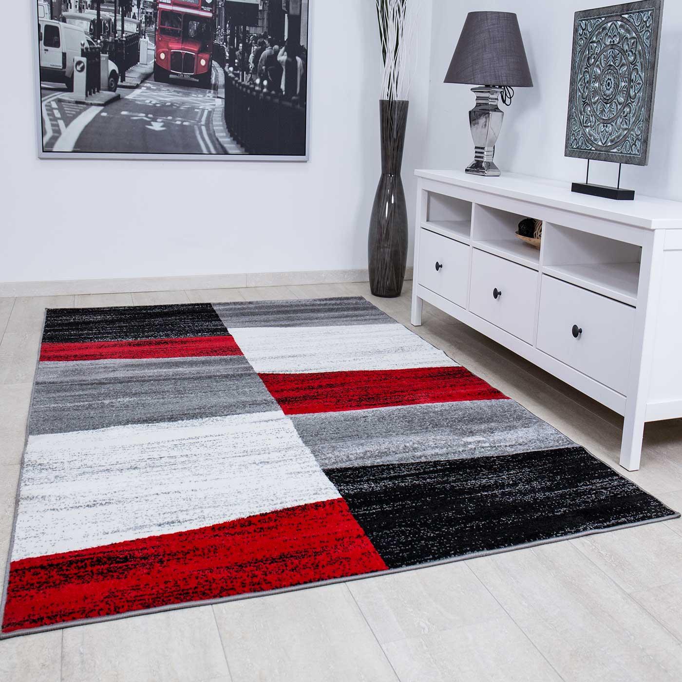 Milano9119 Rot Moderner Designer Schlafzimmer Teppich Geometrisches ...