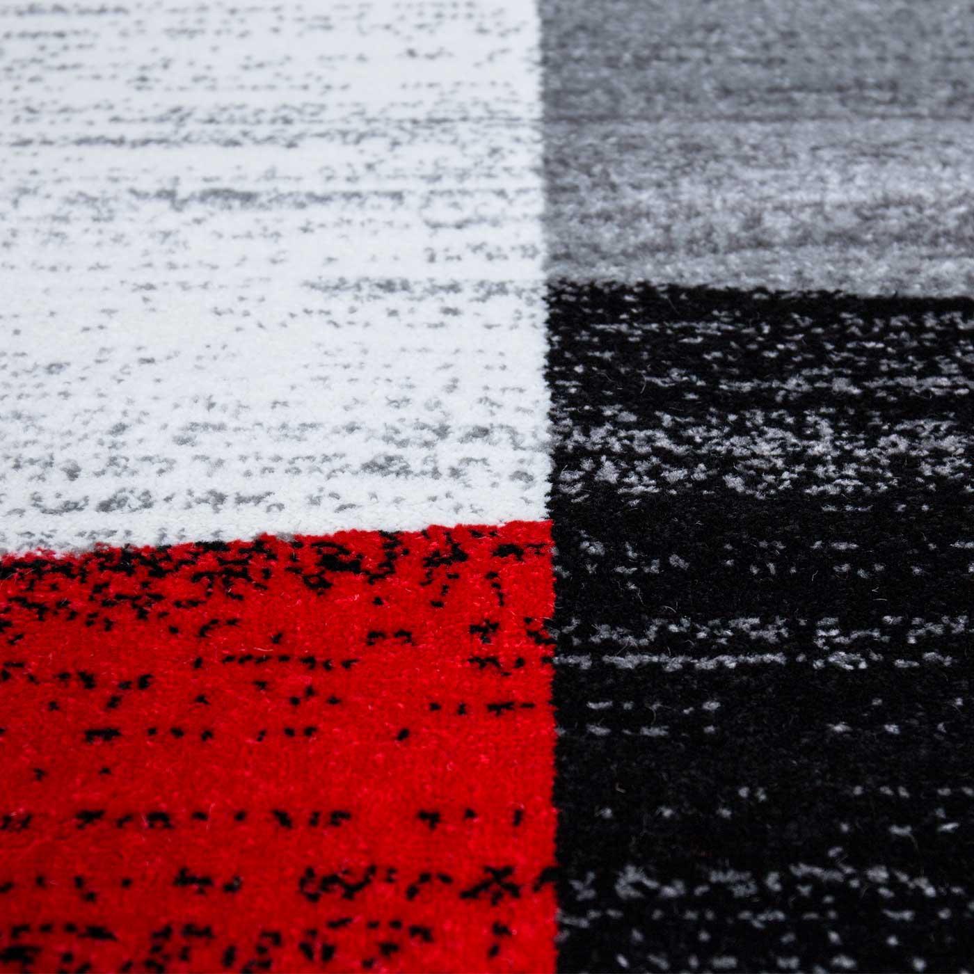milano9119 rot moderner designer schlafzimmer teppich geometrisches muster meliert - Teppich Geometrisches Muster