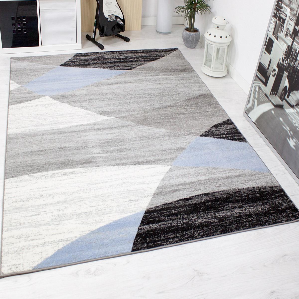 Designer wohnzimmer teppich geometrisches muster meliert blau grün ...