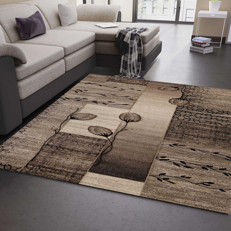 Zartes Beige Mit Holzmöbeln: Wohnzimmer Teppich Naturfarben Beige Braun Mit Blumen Und