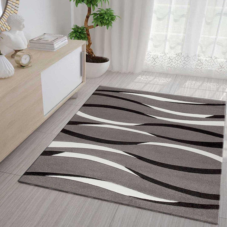 Teppich Hochwertig Modern Moda Konturenschnitt Retro Muster Grau Creme Schwarz