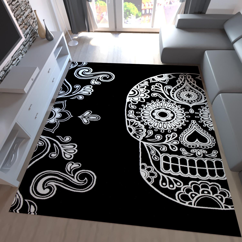 Jugendzimmer Teppich Modern Schwarz Weiß Kunstvoll Totenkopf Motiv T001V
