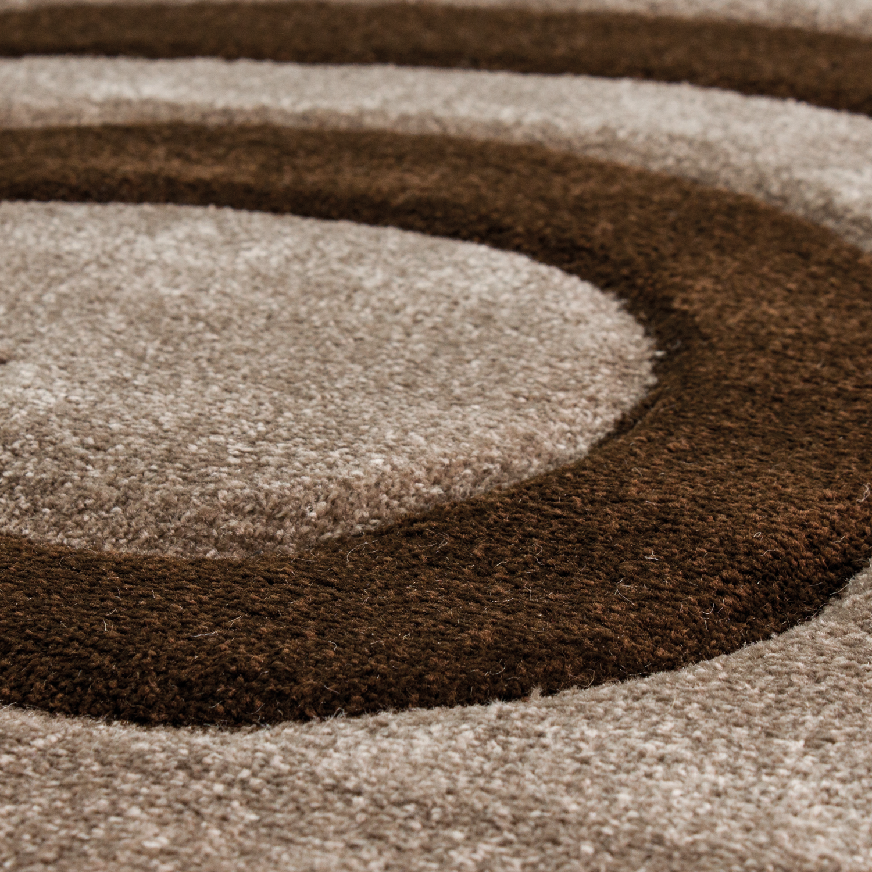 Moderner Designer Teppich Farbe Grau mit Braun Kreisel Muster - CP6678