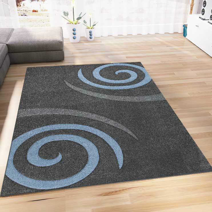 moderner designer teppich farbe blau grau kreisel muster hoch tief konturen ebay. Black Bedroom Furniture Sets. Home Design Ideas