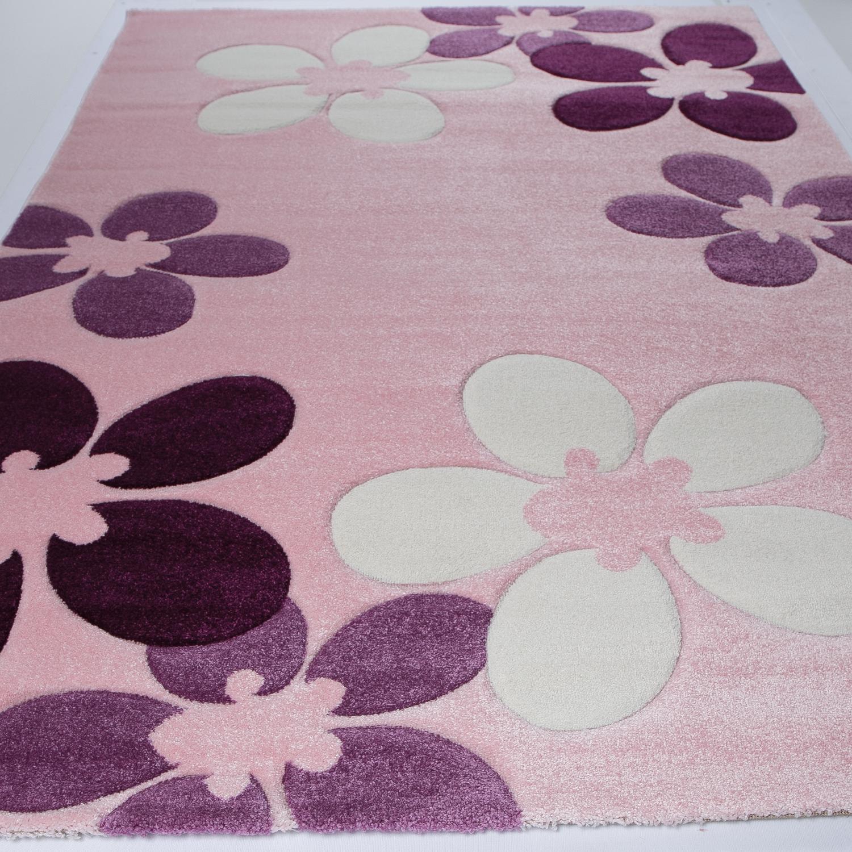 Teppich mit Blumen Muster in Pink Weiß und Lila Kinderzimmer ...