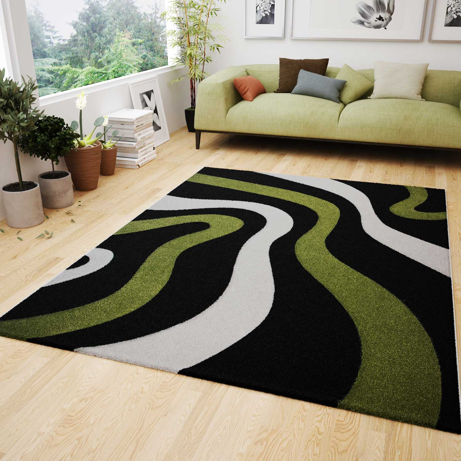 Livingroom or Bedroom Rug Modern Design Carpet Rug with Wave Patterns  Contour Cut Green Black and White- I9466