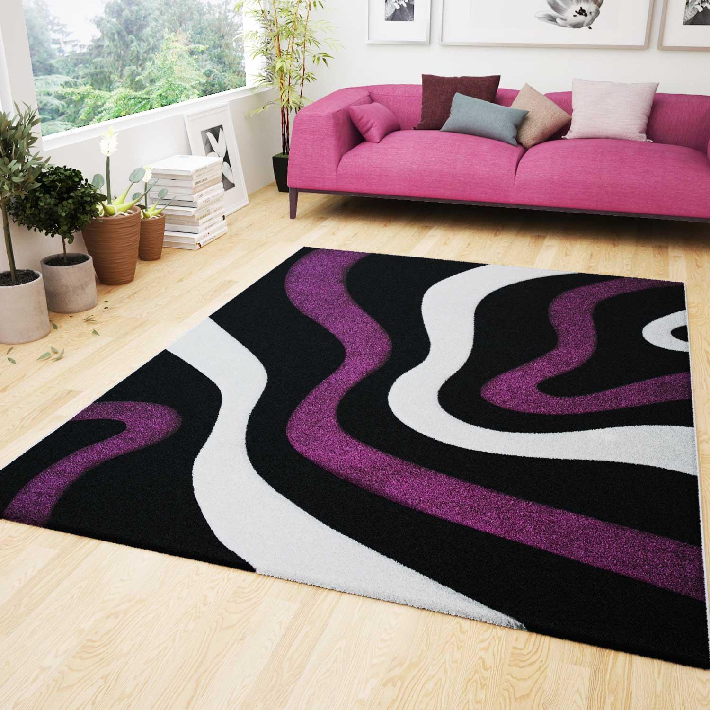 modern teppich design lila schwarz wei wellen muster konturenschnitt frise ebay