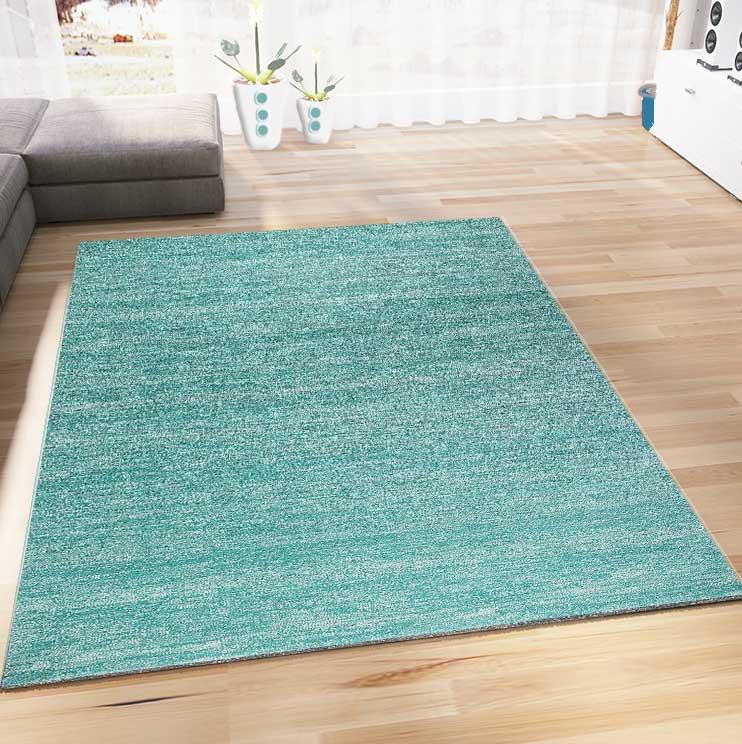 Livingroom Rug Short Pile Modern Design Carpet Livingroom Bedroom Turquoise Green V6824 Ceres Webshop