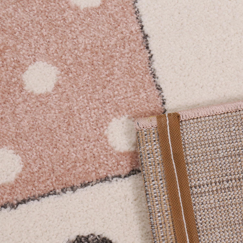 Teppich Rosa Flauschig.Flauschiger Kinder Zimmer Rosa Teppich Herzchen Wölkchen Patchwork Optik