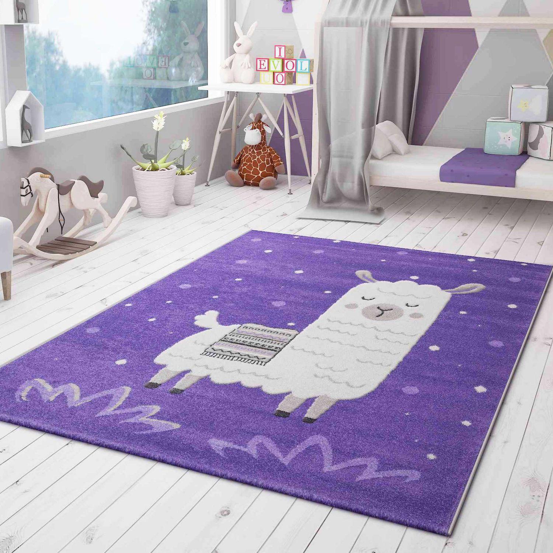 Details zu Teppich Lama König für Kinderzimmer lila Farbe