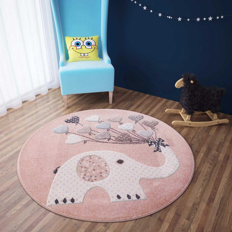 Kinder Teppich Rosa weiß Elefanten Muster und Herz Ballons farbenfroh Rund