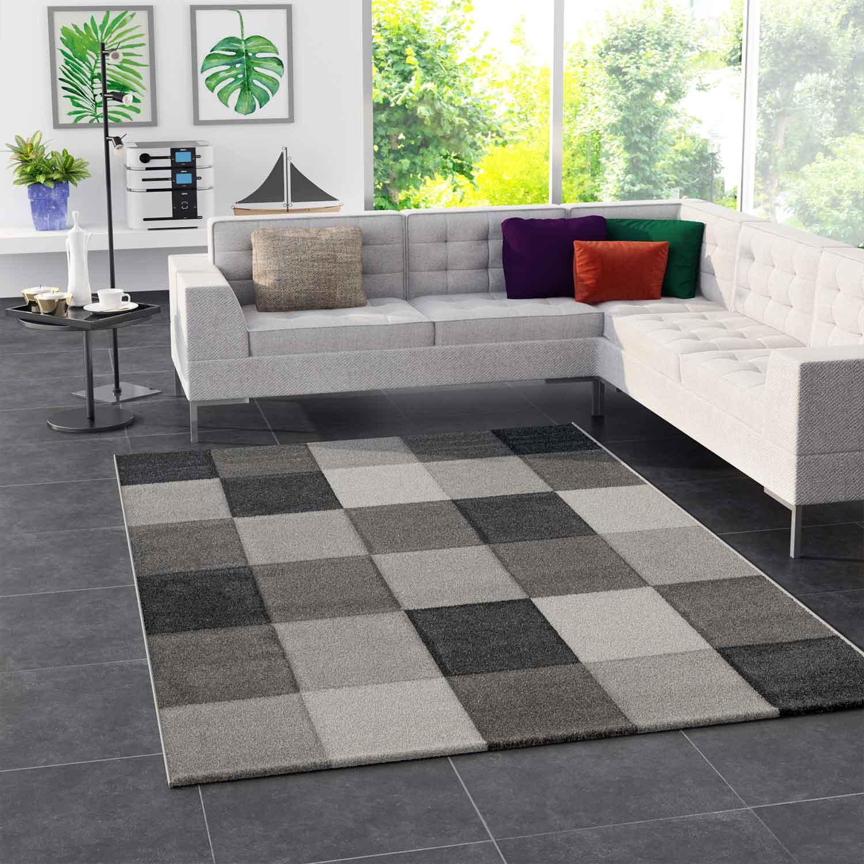Moderner Teppich Kariert Grau Schwarz Weiss Teppich Muster