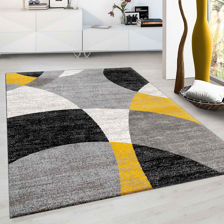 Wohnzimmer Schlafzimmer Teppich Geometrisches Kreis Muster Meliert Gelb Ceres Webshop