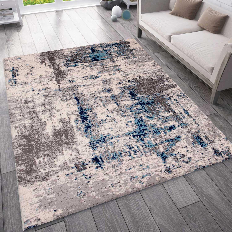 Teppich Abstrakt Vintage Look Wohnzimmer Kurzflor Teppich Laufer Blau Ceres Webshop