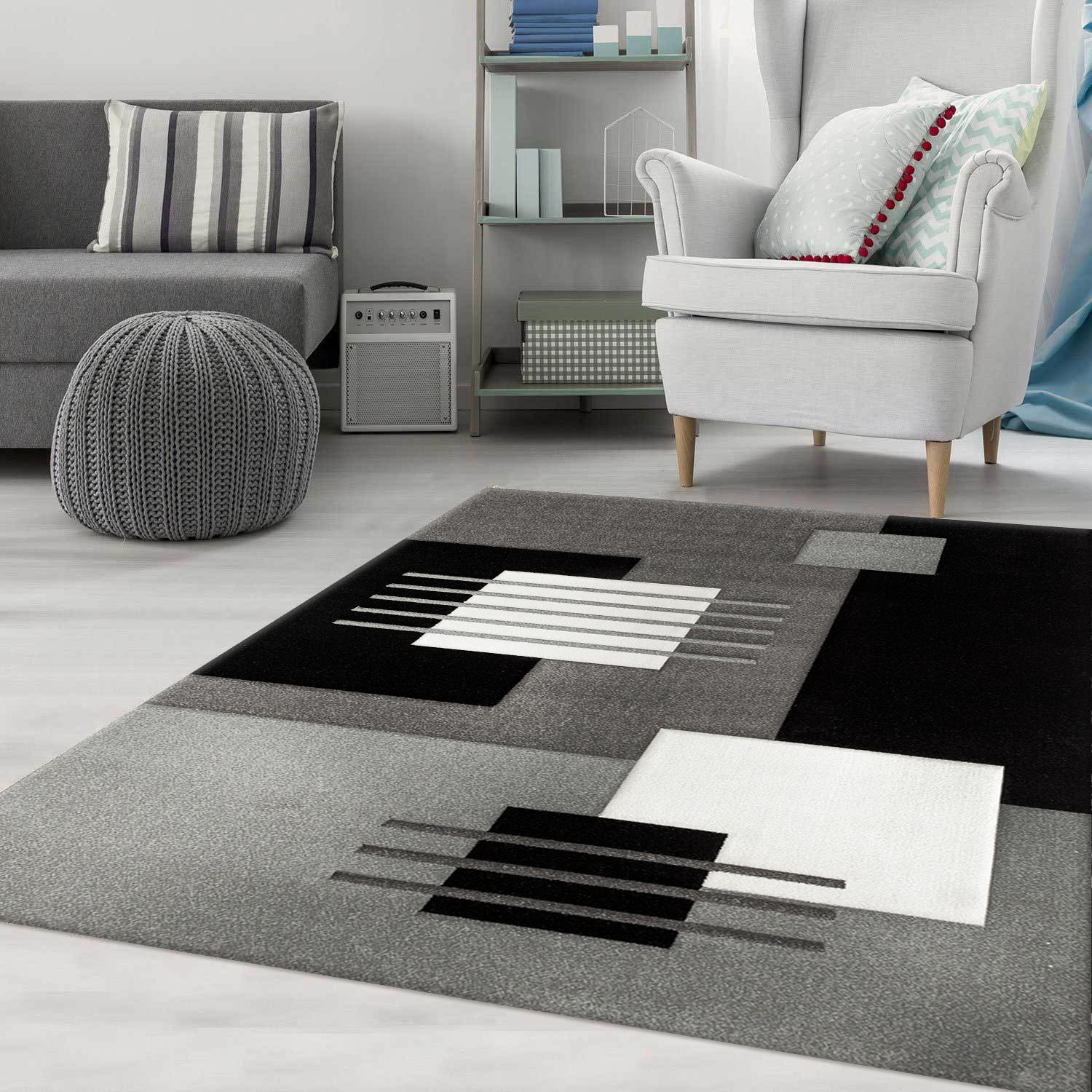 Living and Bedroom Rug Modern Design Carpet in Square Patterns With Defined  Contours in Grey - CP6081