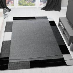 Moderner Frisee Teppich, Handgeschnittene Konturen Umrandung in Grau - CP6294