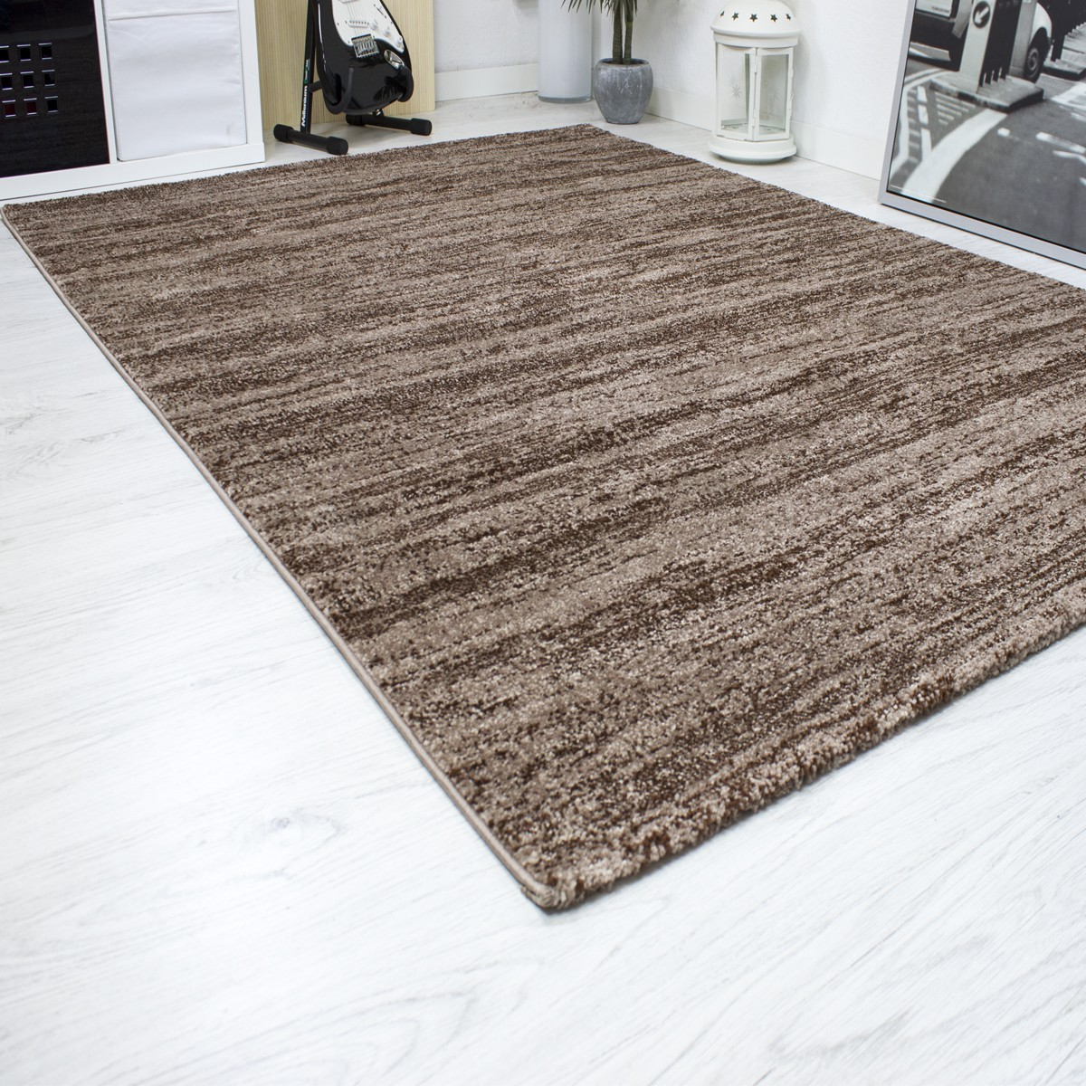 Dekorativ Moderne Beige Braun Schlafzimmer Schlafzimmer: Wohnzimmer Teppich Grau Beige Braun Kurzflor Meliert