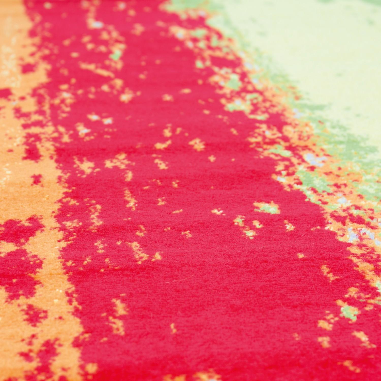 Teppich Modern Design Kurzflor Multicolor Gestreift In Rot Grun Gelb