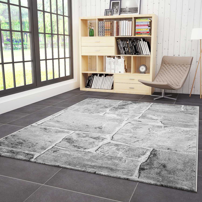 teppich wohnzimmer modern design stein mauer optik in grau weiss hochwertig ebay. Black Bedroom Furniture Sets. Home Design Ideas