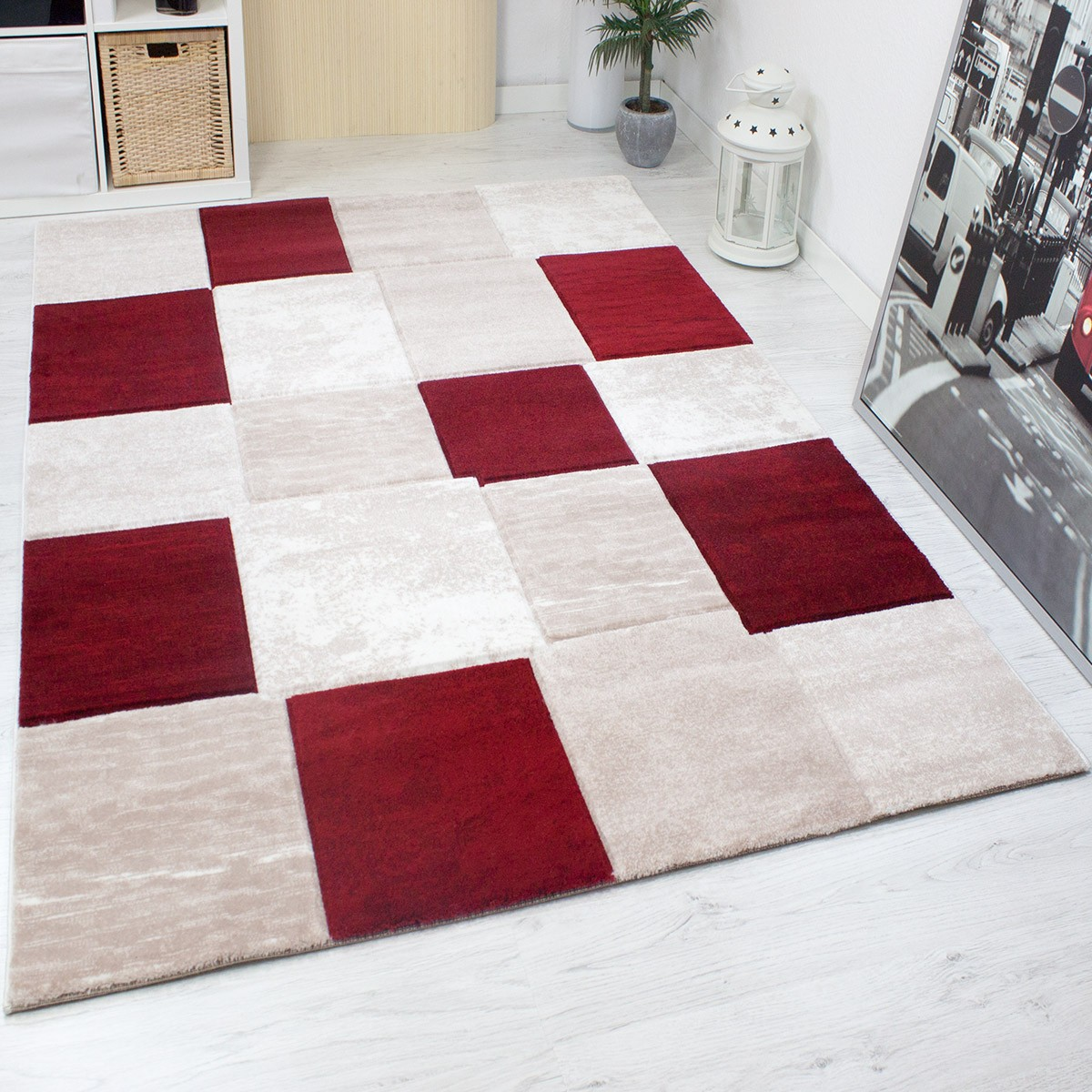 teppich modern designer klassik kariert meliert in braun. Black Bedroom Furniture Sets. Home Design Ideas