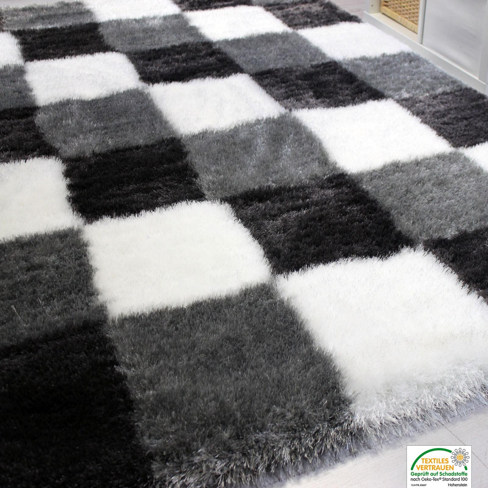 Edler soft shaggy hochflor teppich, modern kariert, glänzend ...