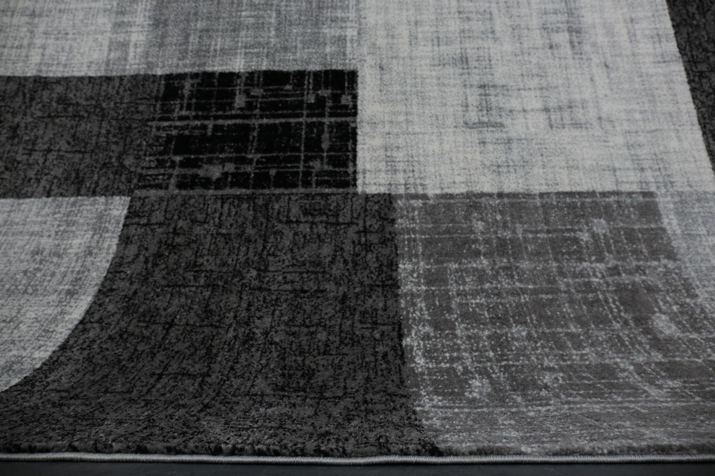 Tappeti Soggiorno Pelo Corto : Tappeto soggiorno pelo corto moderno grigio nero quadrettato bianco