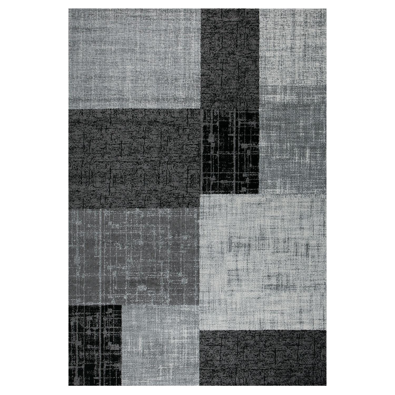 Schwarz Weiß Im Arbeitszimmer: Teppich Wohnzimmer Kurzflor Modern Grau Schwarz Weiß