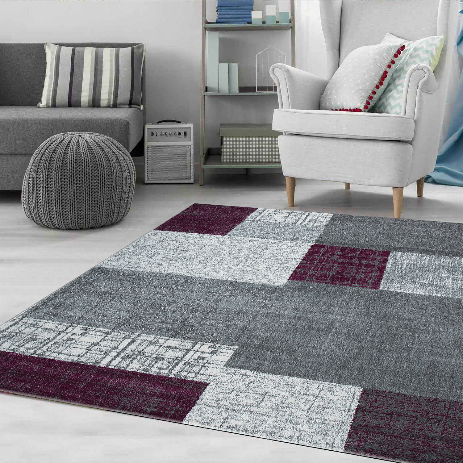 Living Room Rug Modern Rug With Checkered Patterns Short Pile Purple Grey White Colors R7778 Ceres Webshop
