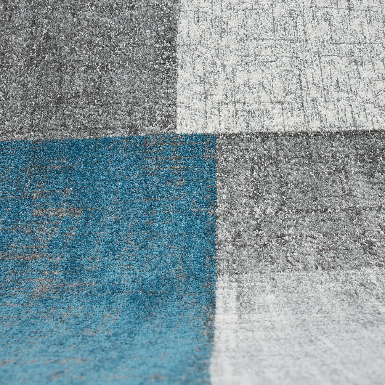 Détails sur Tapis Salon à Poils Ras Turquoise Gris Blanc Moderne à Carreaux  Tuile Optique