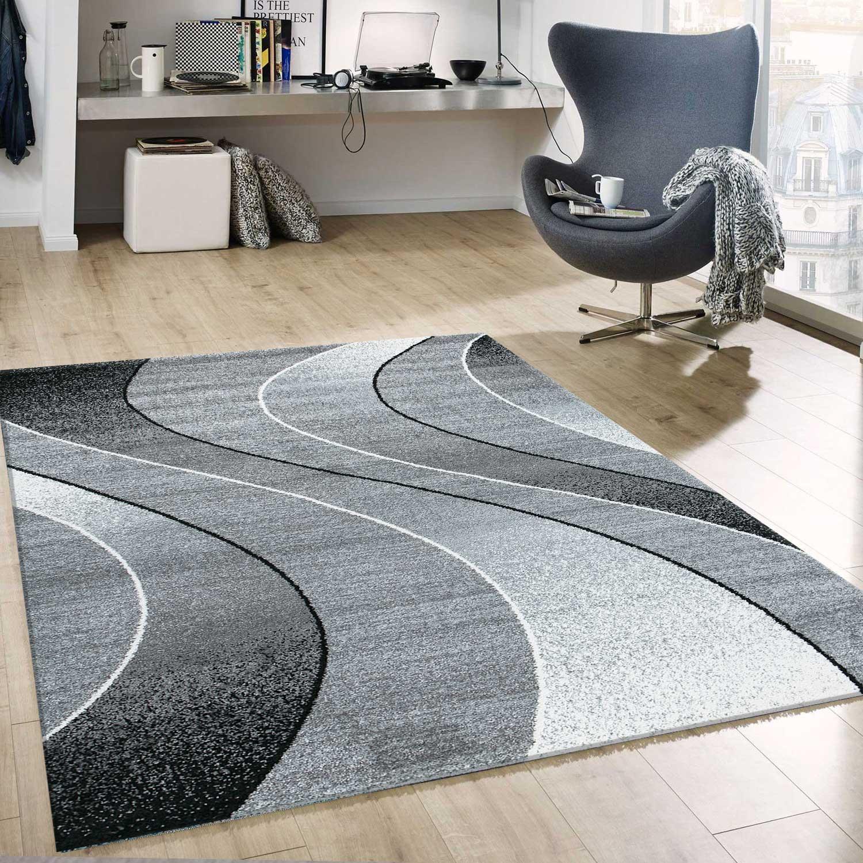 kurzflor teppich wohnzimmer grau schwarz wei gestreift wellen meliert neu ebay