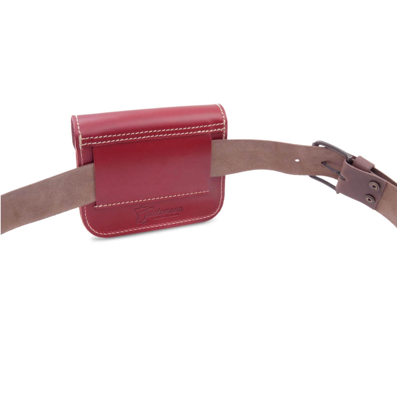 MADE in GERMANY Damen Gürteltasche Bauchtasche CHEYENNE aus rotem Leder