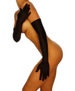Beauty's Love - Sehr lange Handschuhe aus Satin schwarz