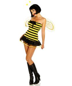 Zugeschnürt Shop - Sexy Bienen-Kostüm mit Flügeln gelb/schwarz  – Bild $_i