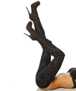 Zugeschnürt Shop - Sexy Leggings im Leo-Print grau/schwarz – Bild $_i