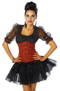 Zugeschnürt Shop - Figurbetonende Taillen-Corsage mit String rot/schwarz – Bild $_i