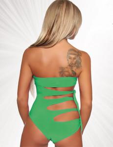Saresia - Bandeau-Monokini mit geknoteten Bändern in grün – Bild $_i