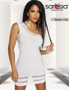 Saresia - Mini-Kleid mit asymmetrischem Schnitt in weiß  – Bild $_i