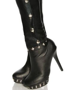 Saresia - Wetlook-Leggings mit Gürtelschlaufe, Schnalle und Knopfleiste in schwarz – Bild $_i