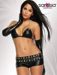 Saresia - Wetlook Hot-Pants Set mit silbernen Ringen in schwarz – Bild $_i
