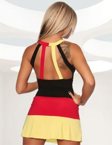 Saresia - Sexy Schwarz-Rot-Goldenes Mini-Kleid  – Bild $_i
