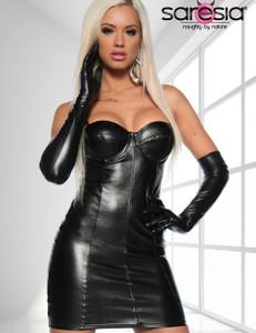 Saresia - Lederimitat-Kleid mit Spaghettiträgern in schwarz – Bild 1