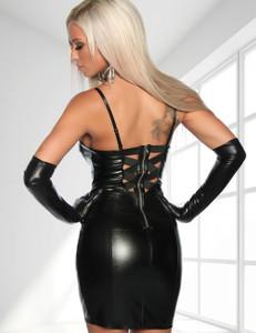 Saresia - Lederimitat-Kleid mit Spaghettiträgern in schwarz – Bild 2