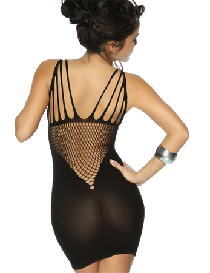 Saresia - Negligee-Kleid in Cut-Out Optik schwarz – Bild $_i