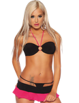Saresia - Gogokini-Set aus Top, Rock & String pink/schwarz 001