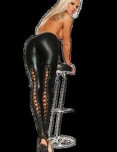 Saresia - Reizvolle Wetlook-Leggings mit Schnürung in schwarz – Bild $_i
