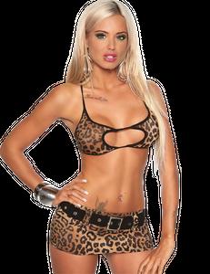 Saresia - Mini-Rock-Set aus heißem Top und sexy Minirock im Leo-Look – Bild $_i