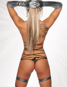 Saresia - Aufregender Gogo Wickel-Bikini in silber/schwarz – Bild $_i