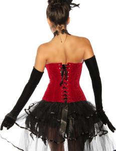 Zugeschnürt Shop - Sexy Burlesque-Corsage mit Federn in schwarz/rot – Bild $_i