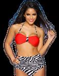 Zugeschnürt Shop - Zebra-Bikini im Bandeau-Stil schwarz/weiß/rot 001