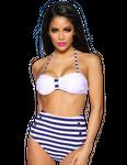 Zugeschnürt Shop - Retro-Bikini mittig mit Raffung in weiß/blau 001